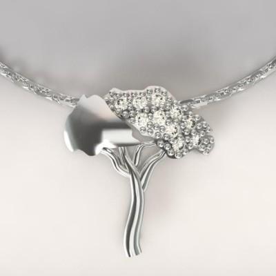 Collier femme en argent & topazes blanches, Pin Parasol