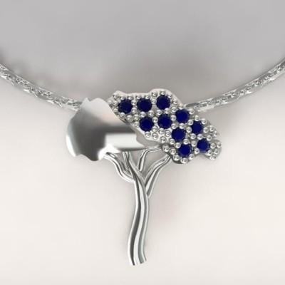 Collier femme en argent & topazes bleu foncé, Pin Parasol