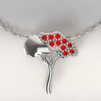 Collier femme en argent & topazes rouges, Pin Parasol
