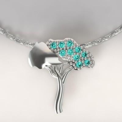 Collier femme en argent & topazes turquoises, Pin Parasol
