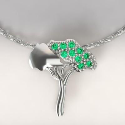 Collier femme en argent & topazes vertes, Pin Parasol