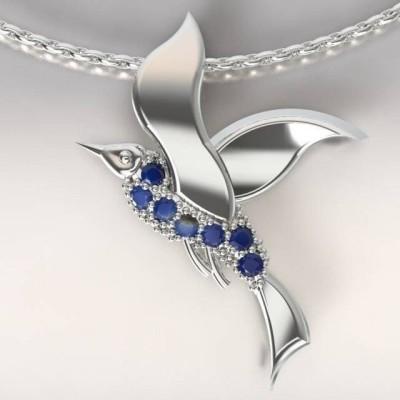 Collier femme, Topazes bleu nuit & argent - Mouette cayouckette