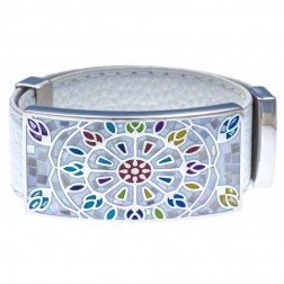 Bracelet femme, Cuir blanc 2cm, Rose des vents - Odena
