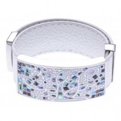 Bracelet femme, Cuir blanc 2cm, Jardin Nacré, Odena - Lyn&Or Bijoux