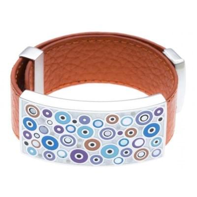 Bracelet femme, cuir orange modulable & Ronds psychédéliques - Odena