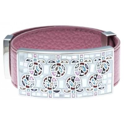 Bracelet femme, cuir rose 2cm & Champ de fleurs - Odena