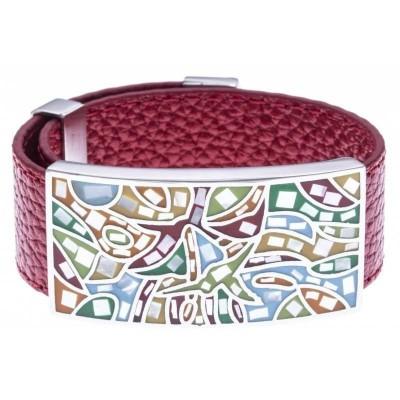 Bracelet femme, cuir rouge 2cm & Explosion de couleurs - Odena