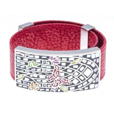 Bracelet femme, cuir rouge 2cm & Papillons colorés - Odena