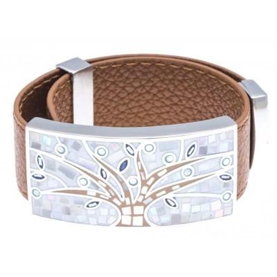 Bracelet femme, Cuir Marron 2cm, Arbre de Vie - Odena