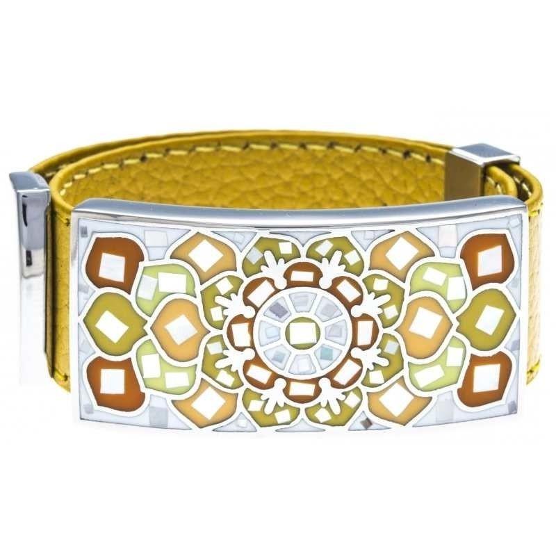 Bracelet femme, Cuir Jaune 2cm, Fleur de Lotus - Odena