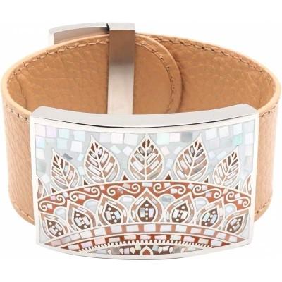 Bracelet manchette femme, cuir beige 3cm & plumes - Odena