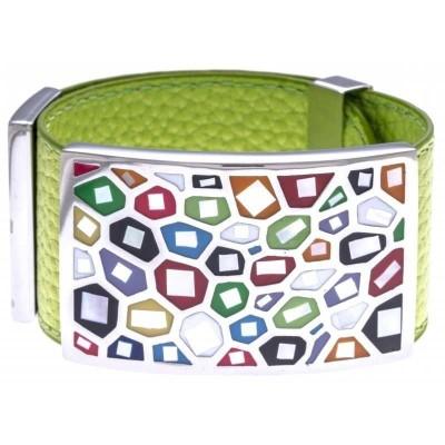 Bracelet manchette femme, cuir vert 3cm & acier multicolore - Odena
