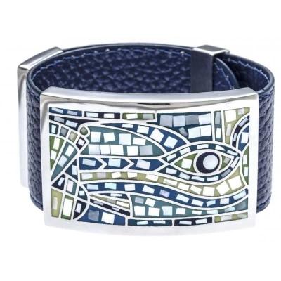 Bracelet manchette femme, cuir bleu 3cm & oeil bleu - Odena
