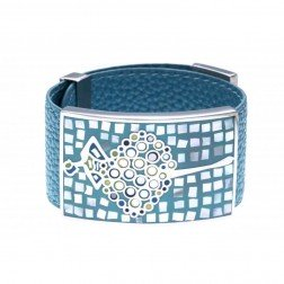 Bracelet manchette femme, cuir bleu 3cm & danseuse - Odena