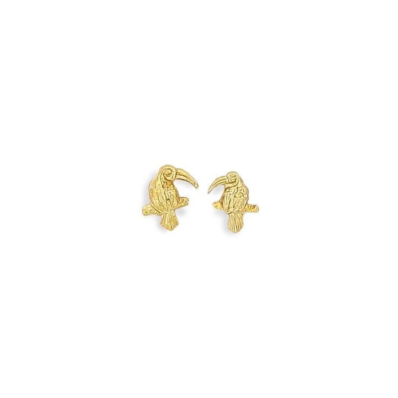 Boucles d'oreilles pour fille en plaqué or - Toucan, Lyn&Or BIjoux