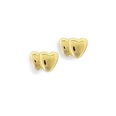 Boucles d'oreille fille & femme, plaqué or - 2 coeurs, Lyn&Or Bijoux