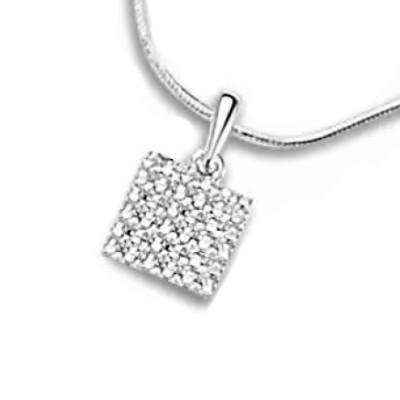 Pendentif femme, carré or blanc & diamants