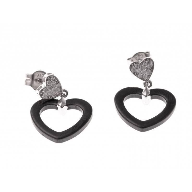 Boucles d'oreille femme, coeur noir en céramique & argent - Mahi - Lyn&Or Bijoux