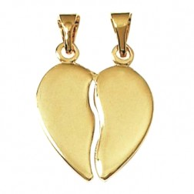 Pendentif coeur à diviser en plaqué or