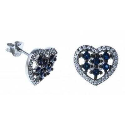 Boucles d'oreille femme, coeur en argent, zircon blanc & bleu - Océan - Lyn&Or Bijoux