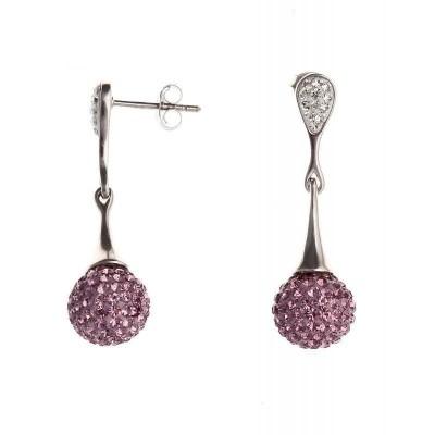 Boucles d'oreille pendantes en Cristal rose pour femme - Mizy - Lyn&Or Bijoux