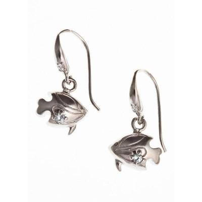 Boucles d'oreille poisson argent et topaze pour femme - Océan - Lyn&Or Bijoux