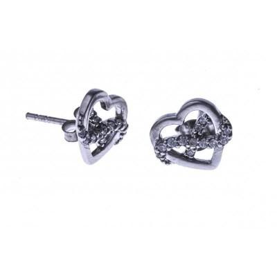 boucle d'oreille argent 925 fantaisie pour femme, Coeur-infini