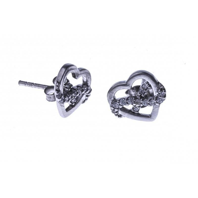 boucle d'oreille argent fantaisie pour femme - Coeur -infini