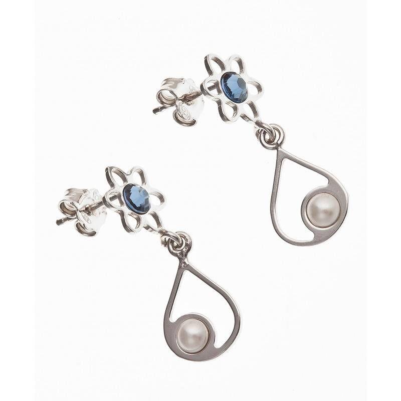 Boucles d'oreilles fleur Swarovski bleu pour femme - Fila - Lyn&Or Bijoux