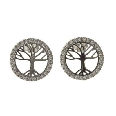 bijou boucles d'oreilles arbre de vie pour femme, argent et zircon