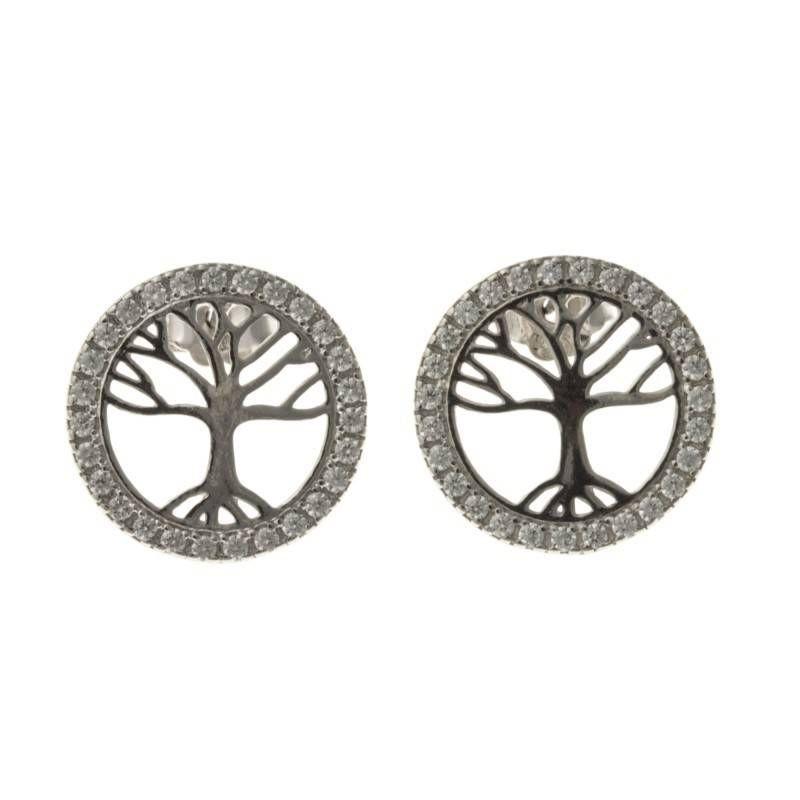 Boucles d'oreille femme, Arbre de Vie en argent & zircon - Lyn&Or Bijoux