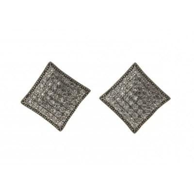 boucle d'oreille pour femme, carré en argent et zircon