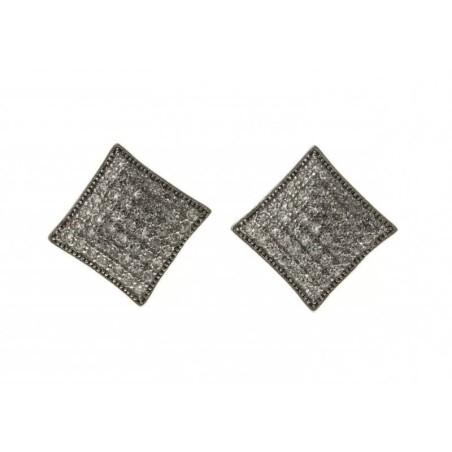 Boucles d'oreilles carré argent et zircon - Trekko
