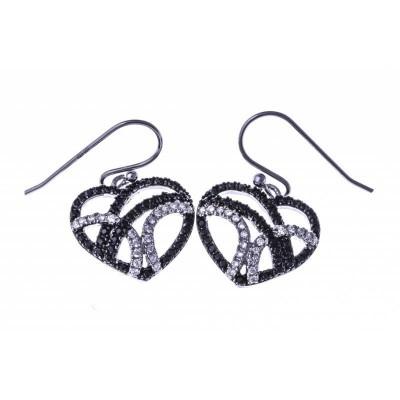 Boucles d'oreille femme, coeur noir, blanc, argent - Zyva - Lyn&Or Bijoux