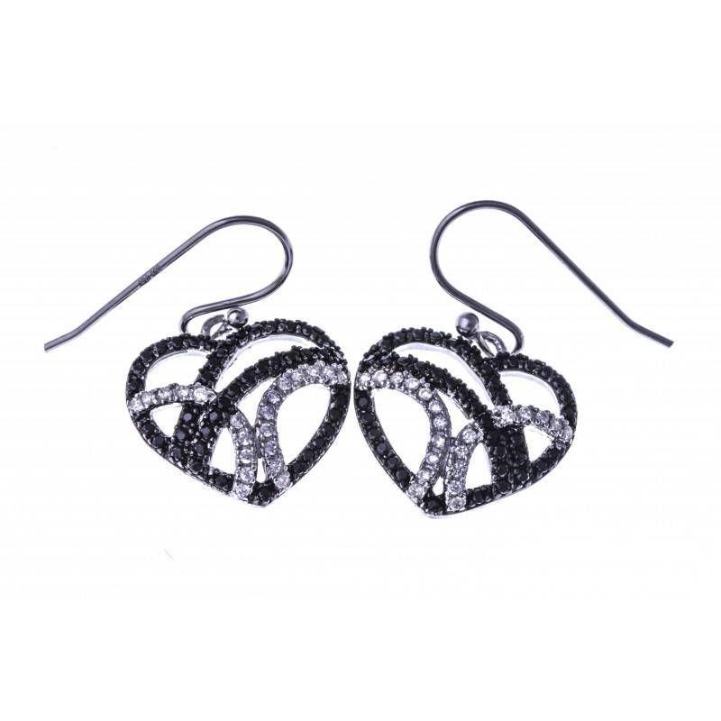 boucle d'oreille coeur pour femme en argent et zircon noir