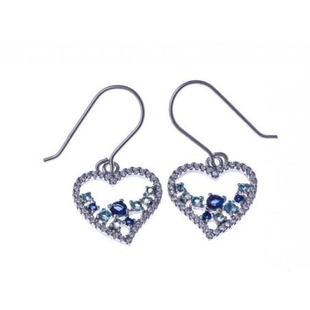 Boucles d'oreilles coeur bleu en argent - Lagon