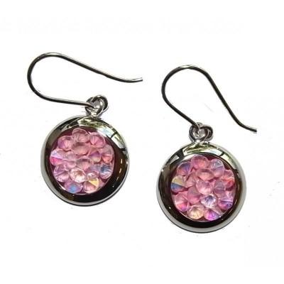 Boucles d'oreille femme, Cristal Rock rose & argent - Rock - Lyn&Or Bijoux
