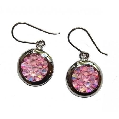Boucles d'oreilles Cristal rose et argent - Rock