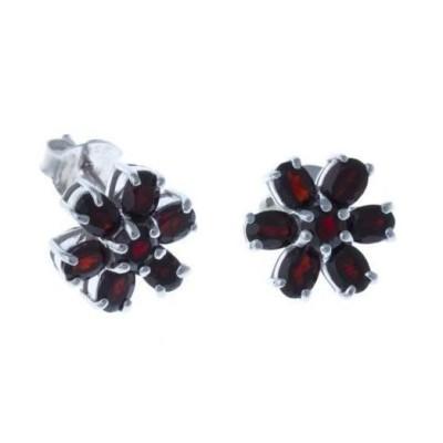 Boucles d'oreilles grenat et argent pour femme - Jane - Lyn&Or Bijoux