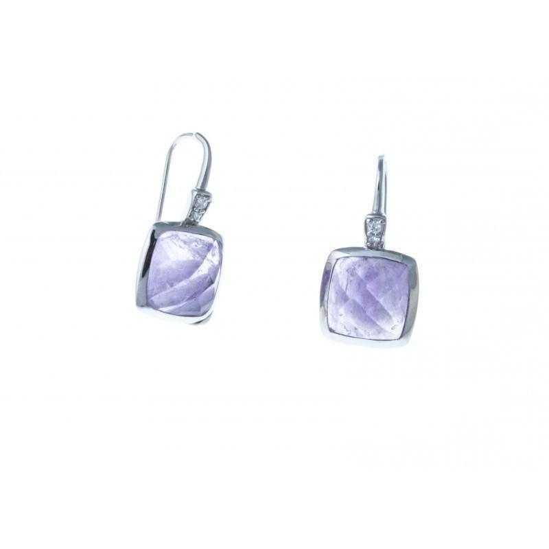 Boucles d'oreille femme en argent et améthyste violette - Saska - Lyn&Or Bijoux