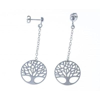 boucle d'oreille arbre de vie pour femme en argent rhodié