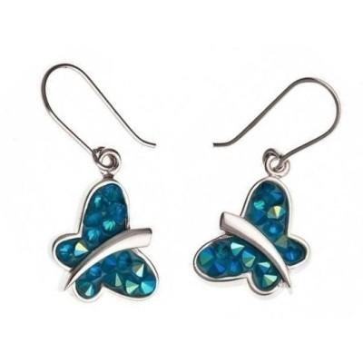 Boucles d'oreille pour femme - Papillon bleu en Cristal Rock - Lyn&Or Bijoux
