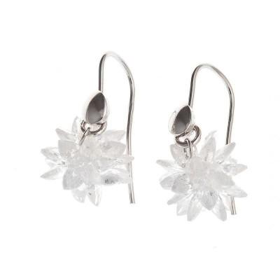 boucle d'oreille pour femme avec zircon blanc et argent rhodié, Flocon