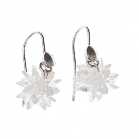 Boucles d'oreilles en argent et zircone - Flocon