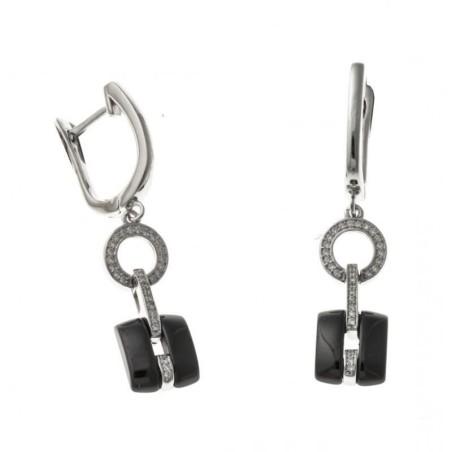 Boucles d'oreilles argent et céramique noire - Tonka
