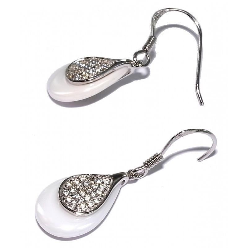 Bijou boucle d'oreille argent et céramique blanche fantaisie pour femme, Sima