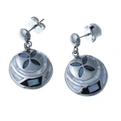 boucle d'oreille acier inoxydable - émail bleu et nacre pour femme - Sing