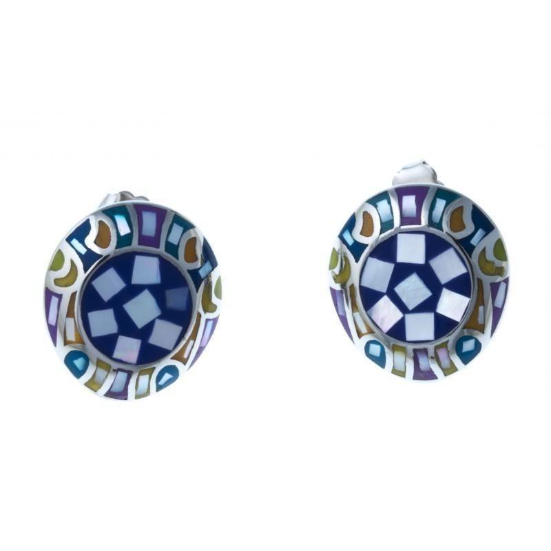 boucle d'oreille acier inoxydable - émail bleu et nacre pour femme - Calla