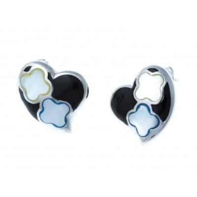 Boucles d'oreille femme, coeur en acier, émail et nacre - Amor - Lyn&Or Bijoux