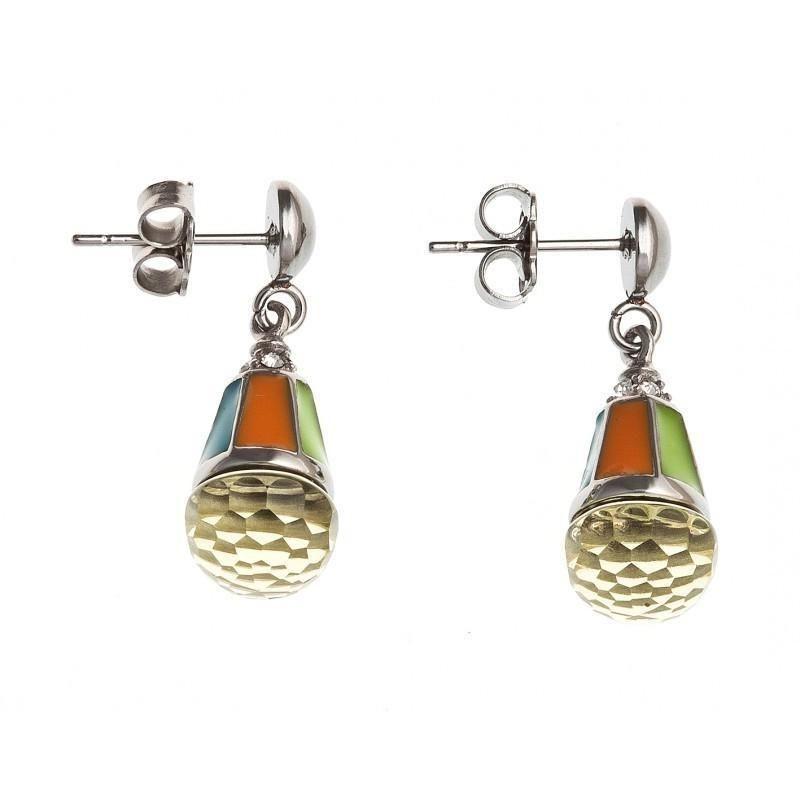 Bijou boucle d'oreille acier inoxydable émail et verre orange pour femme, Taiga Pêche